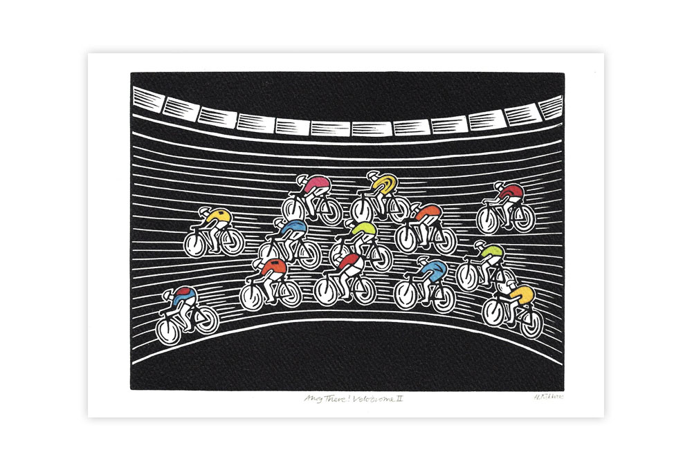 Ahoy There! Velodrome II Bicycle Greeting Card by Hugh Ribbans