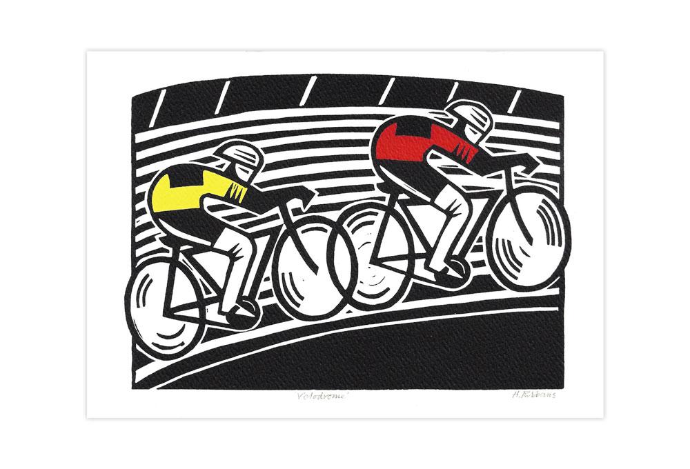 Velodrome Bicycle Greeting Card by Hugh Ribbans