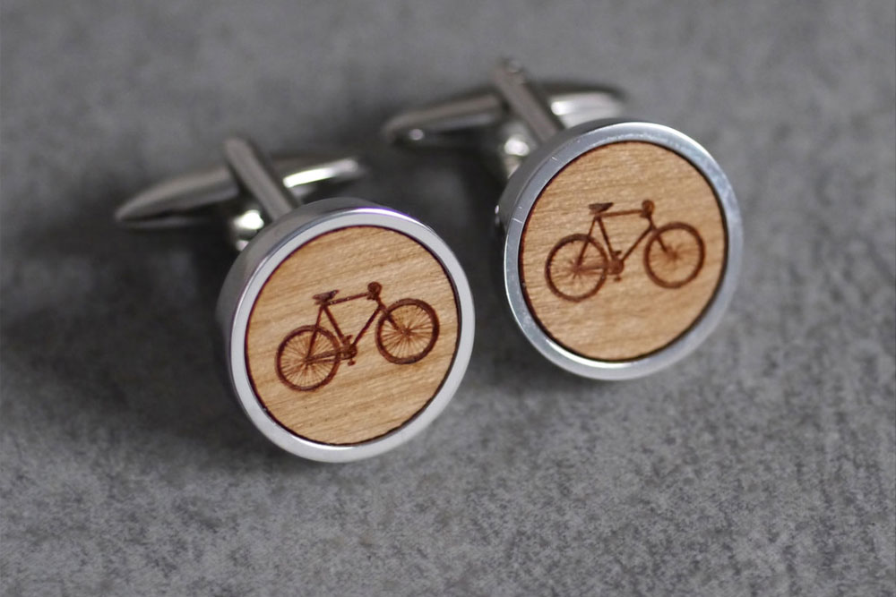 Maria Allen Rhodium Bicycle Cufflinks
