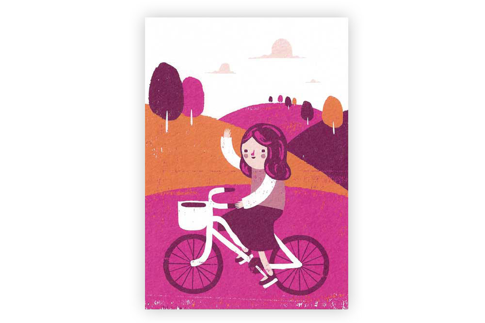 Girl's Bicycle Greeting Card