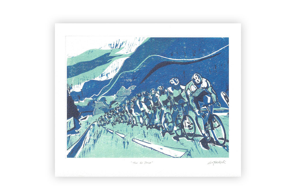 Tour de Force Bicycle Greeting Card by Lisa Takahashi