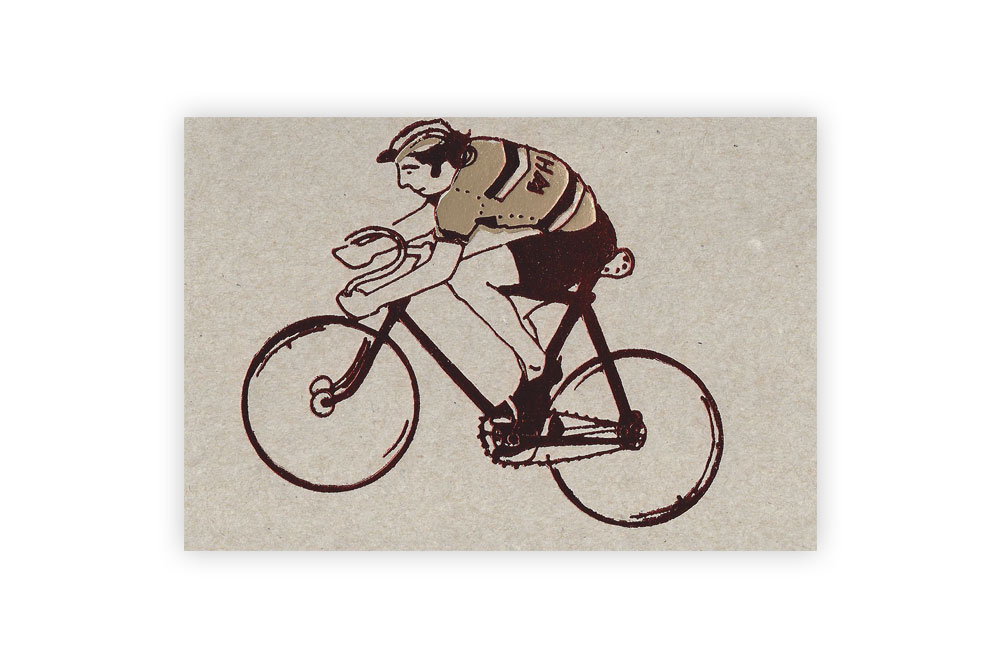 Eddy Merckx Gold and Red Bicycle Greeting Card by Kim Jenkins