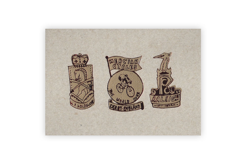 Trio of Badges Bicycle Greeting Card by Kim Jenkins
