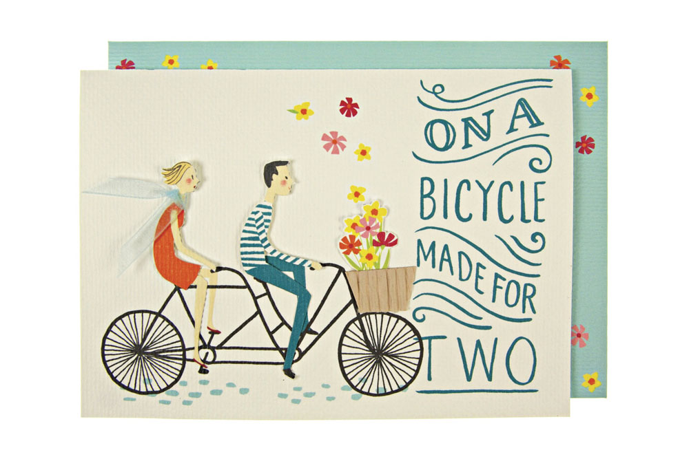 Bicycle Built for Two – Embellished Bicycle Greeting Card