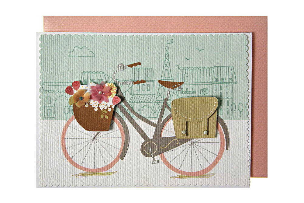 A Bike in Paris - Embellished Bicycle Greeting Card