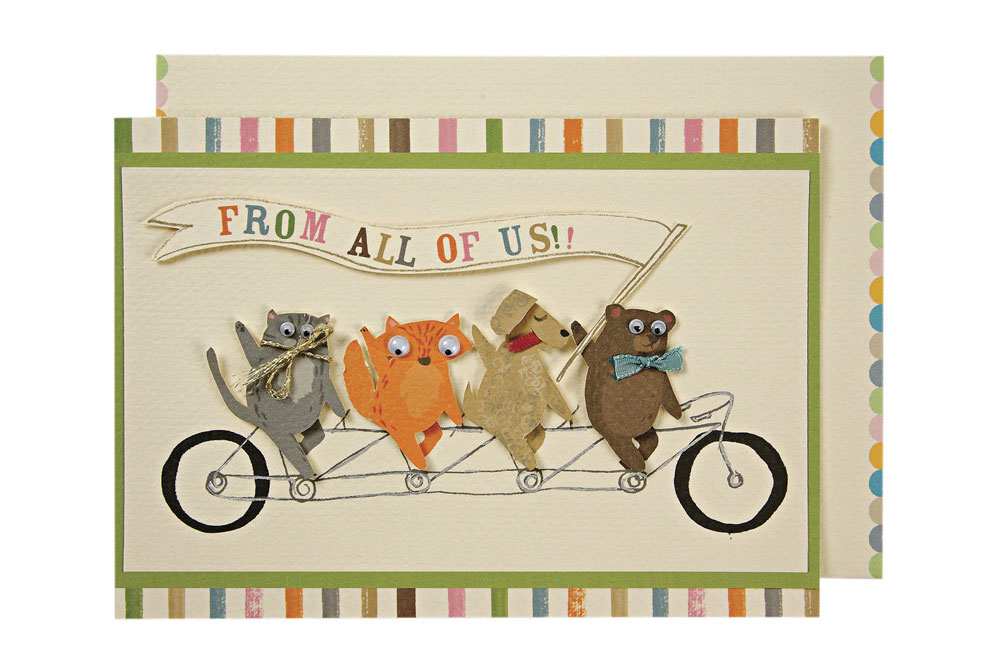 Tandem Pets – Embellished Bicycle Greeting Card