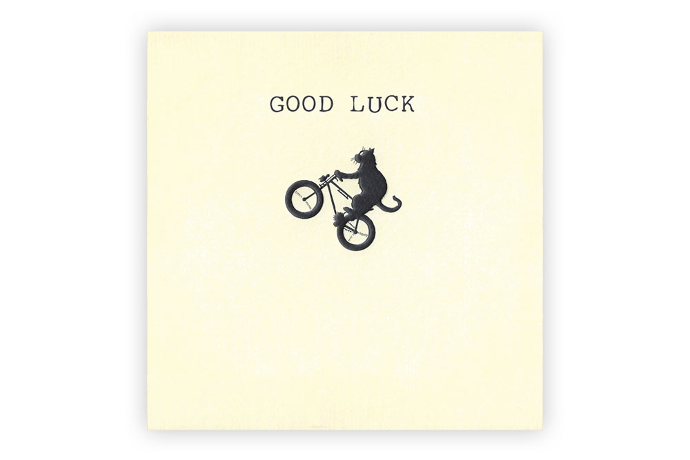 Lucky Cat on a Bicycle Greeting Card