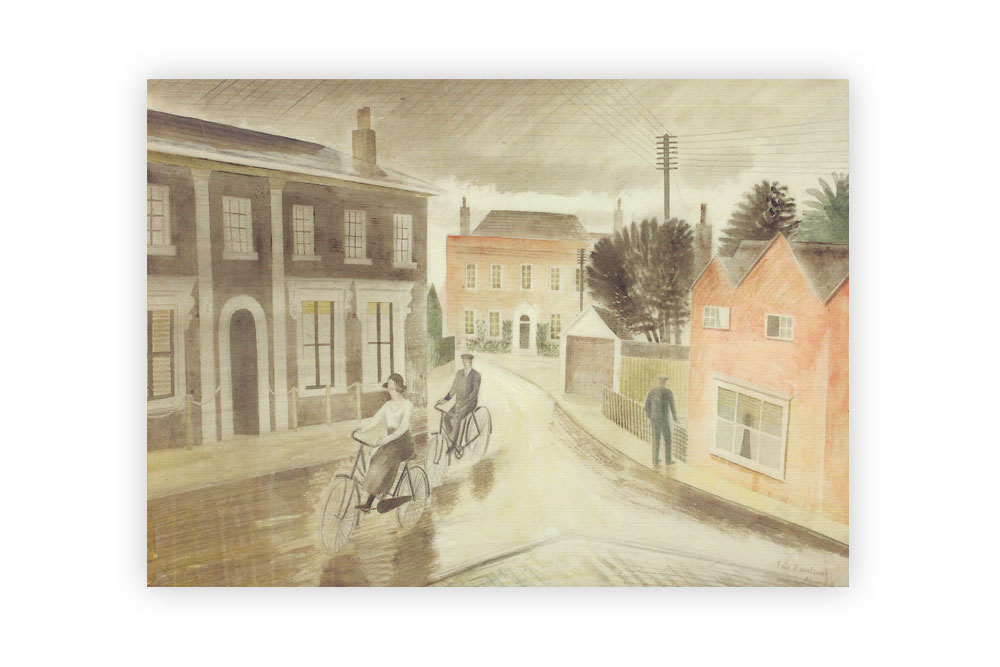 Village Street 1936 Bicycle Greeting Card