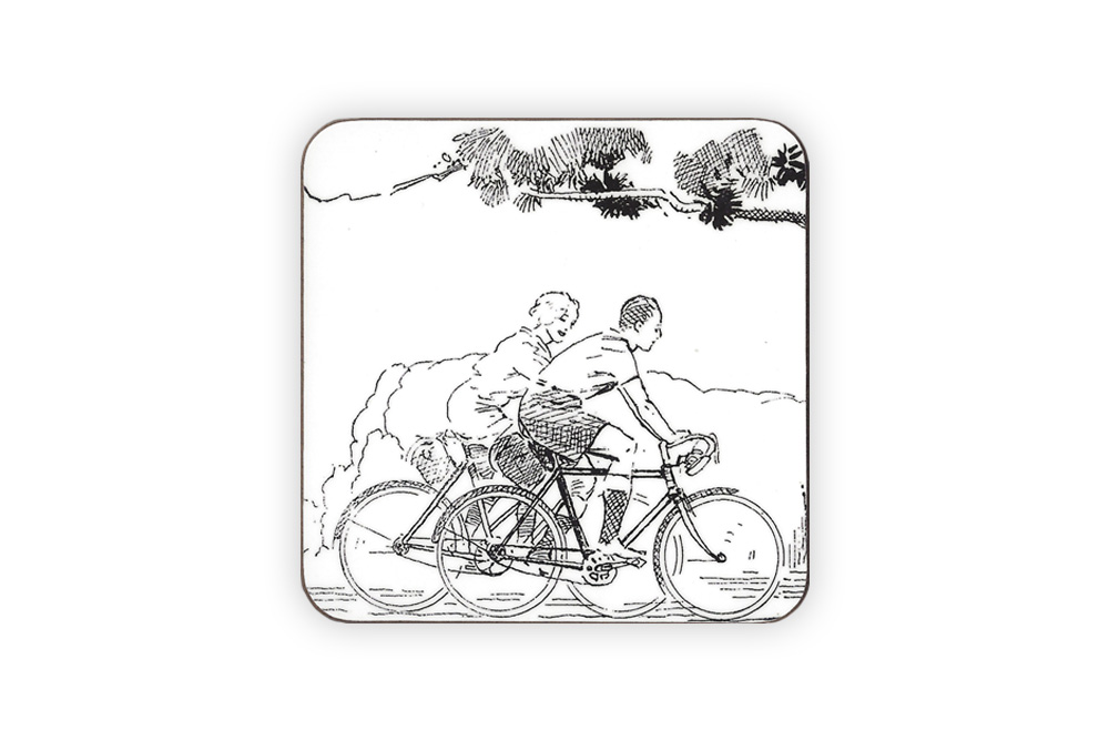 CycleMiles Black and White Vintage Bicycle Drinks Coaster