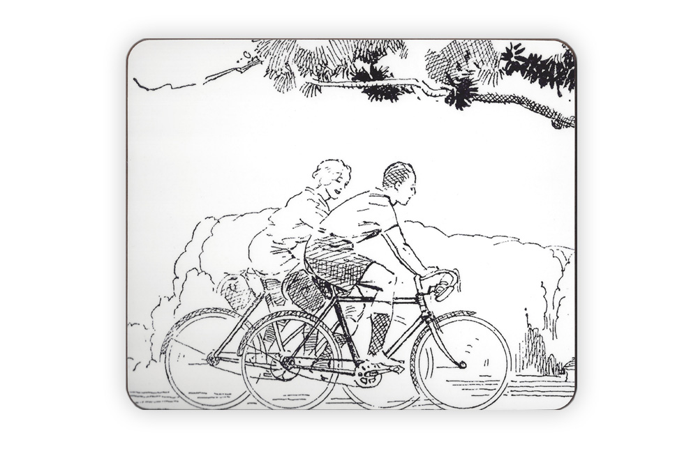 CycleMiles Black and White Vintage Bicycle Placemat