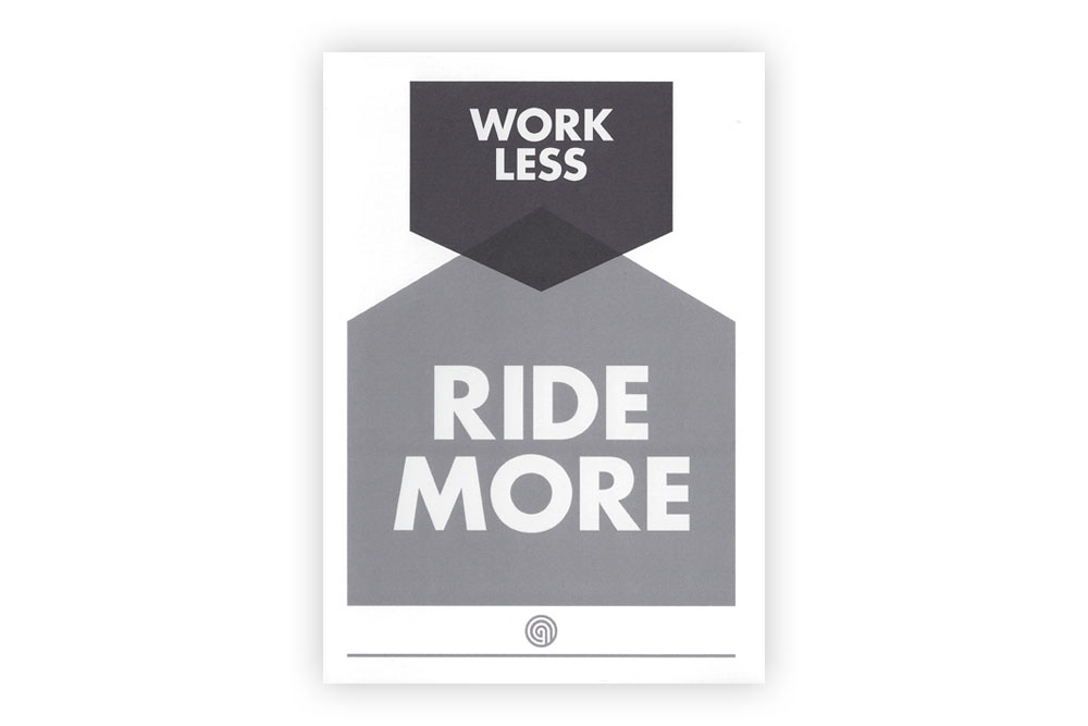 Work Less Ride More Bicycle Greeting Card by Anthony Oram