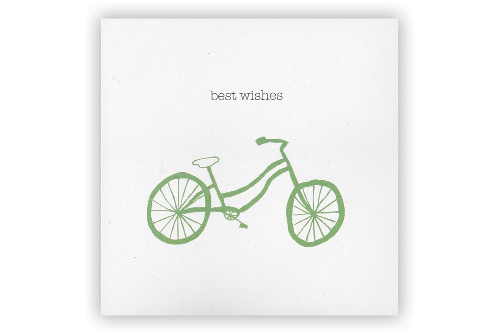 Best Wishes Green Bicycle Greeting Card