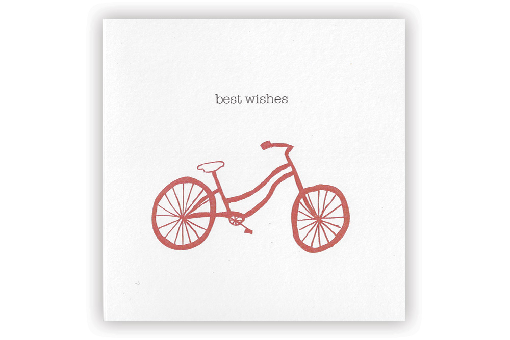 Best Wishes Red Bicycle Greeting Card