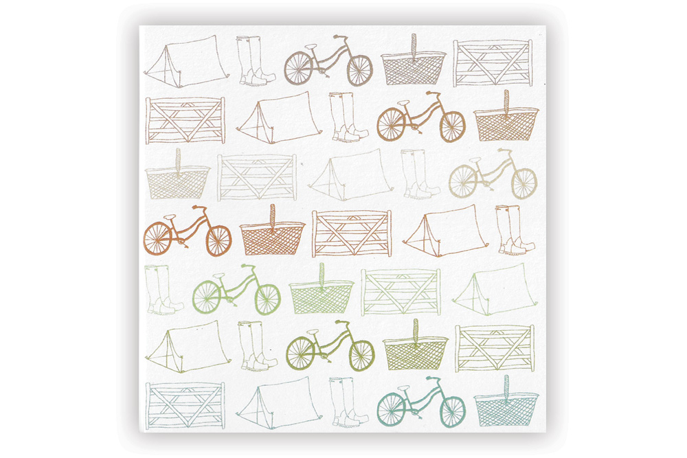 Cycle Touring Large Pattern Bicycle Greeting Card