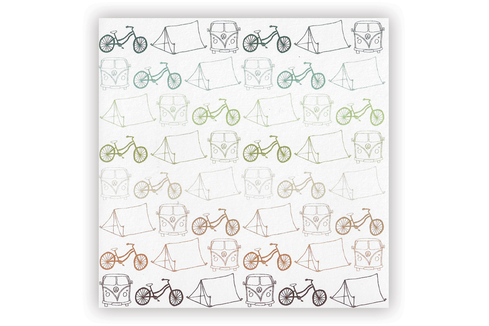 Cycle Touring Small Pattern Bicycle Greeting Card
