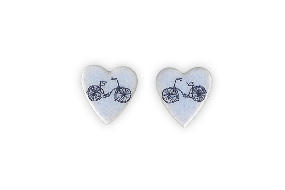 Ceramic Heart Bicycle Earrings Cyclemiles