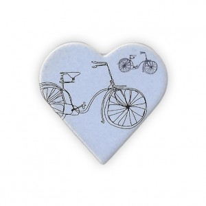 Ceramic Large Heart Bicycle Brooch