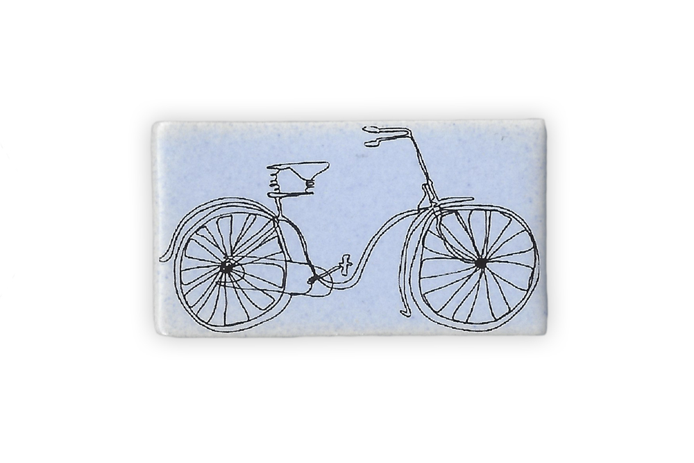 Ceramic Rectangle Bicycle Brooch