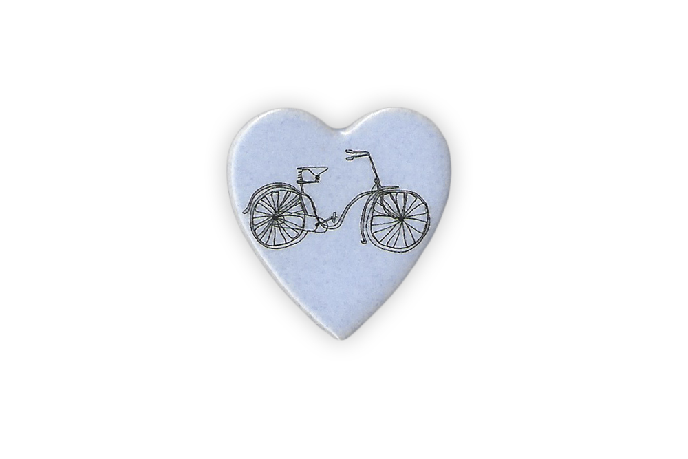 Ceramic Small Heart Bicycle Brooch
