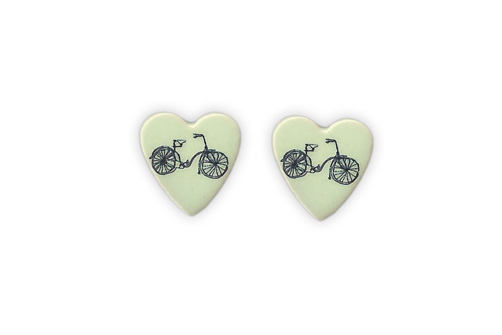 Ceramic Heart Bicycle Earrings Cyclemiles