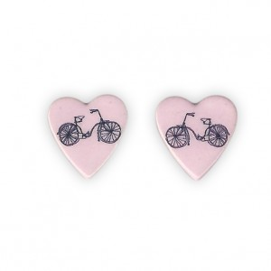 Ceramic Heart Bicycle Earrings