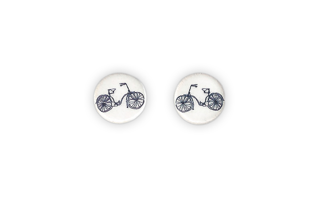 Ceramic Round Bicycle Earrings