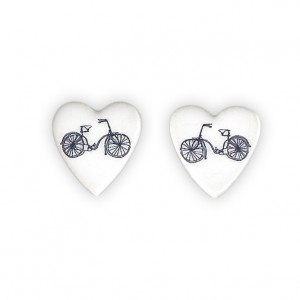 Ceramic Heart Bicycle Earrings