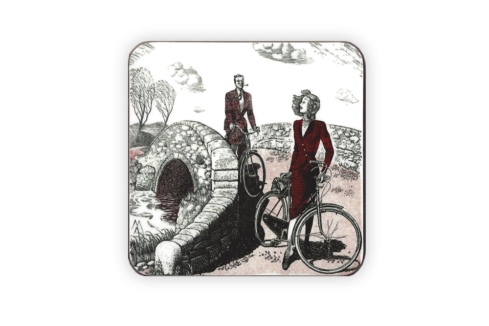 CycleMiles Vintage Couple Bicycle Drinks Coaster