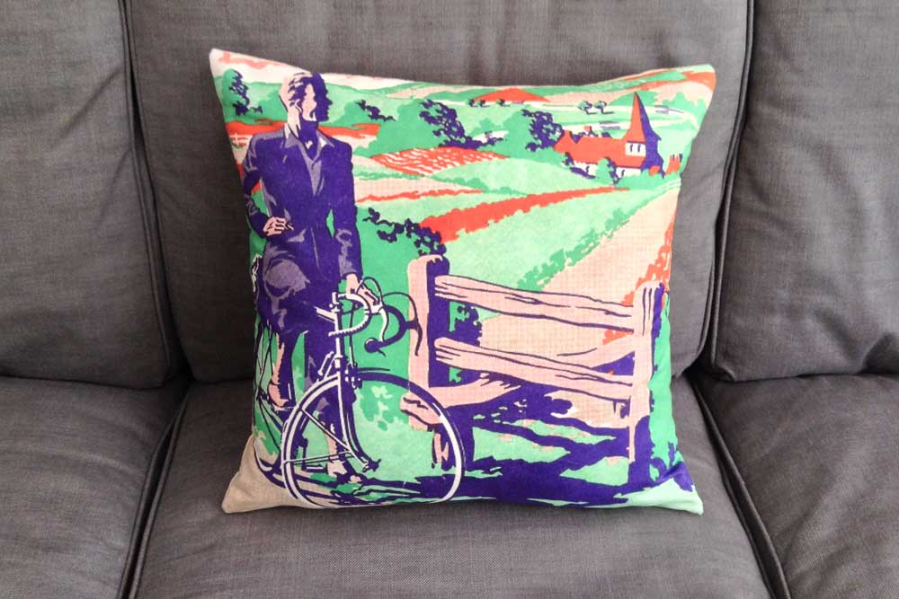 CycleMiles Vintage Blue and Green Bicycle Cushion