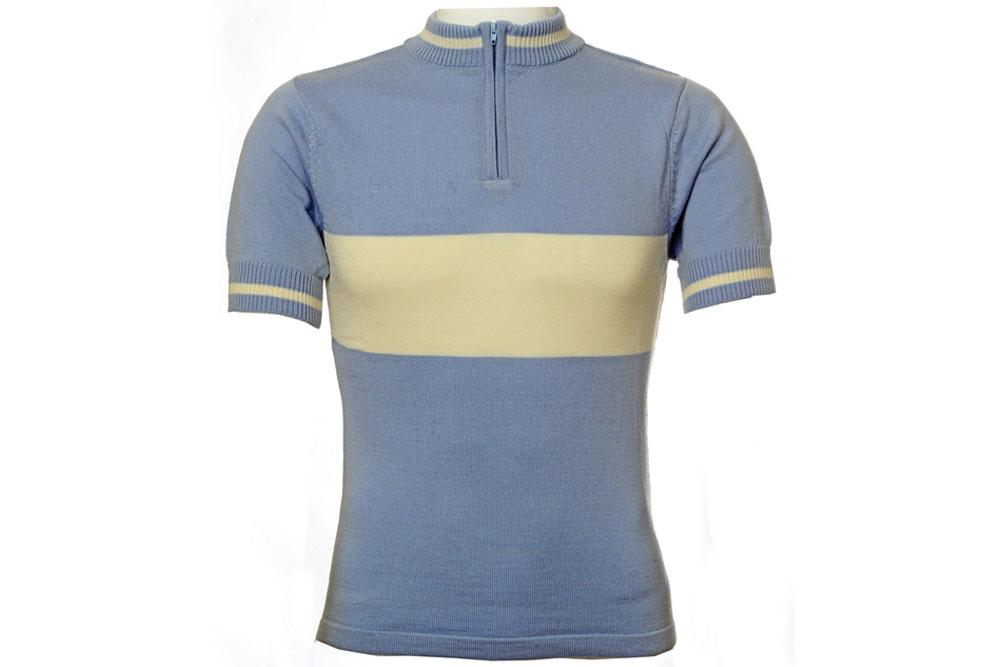 Jura Merino Wool Cycling Jersey – Short Sleeves – Blue / Cream