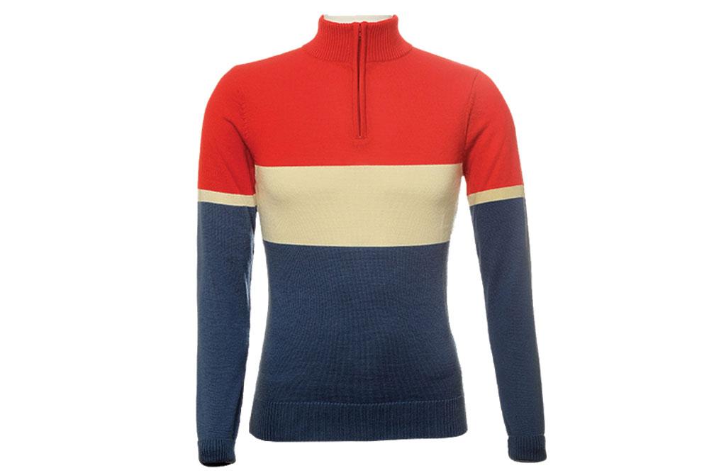 Jura Merino Wool Cycling Jersey – Long Sleeves – Red / Cream / Blue