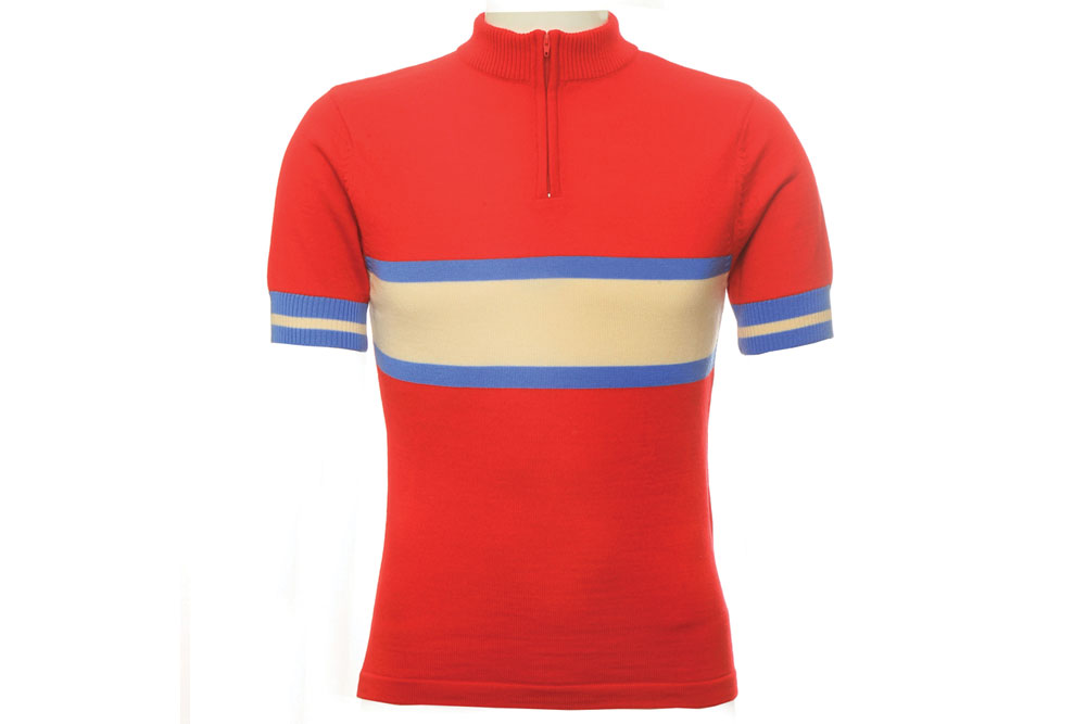 Jura Merino Wool Cycling Jersey – Short Sleeves – Red / Cream / Blue
