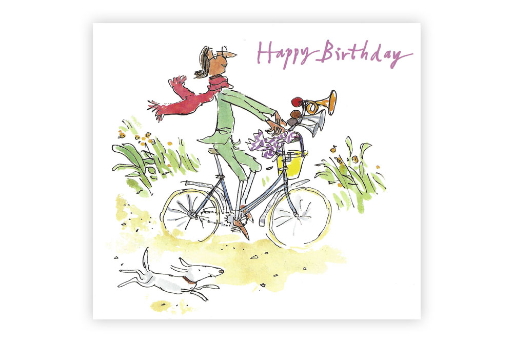 Quentin Blake Happy Birthday Bicycle Greeting Card
