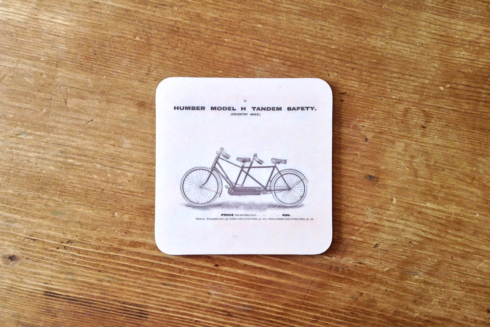CycleMiles Humber Model H Tandem Bicycle Drinks Coaster