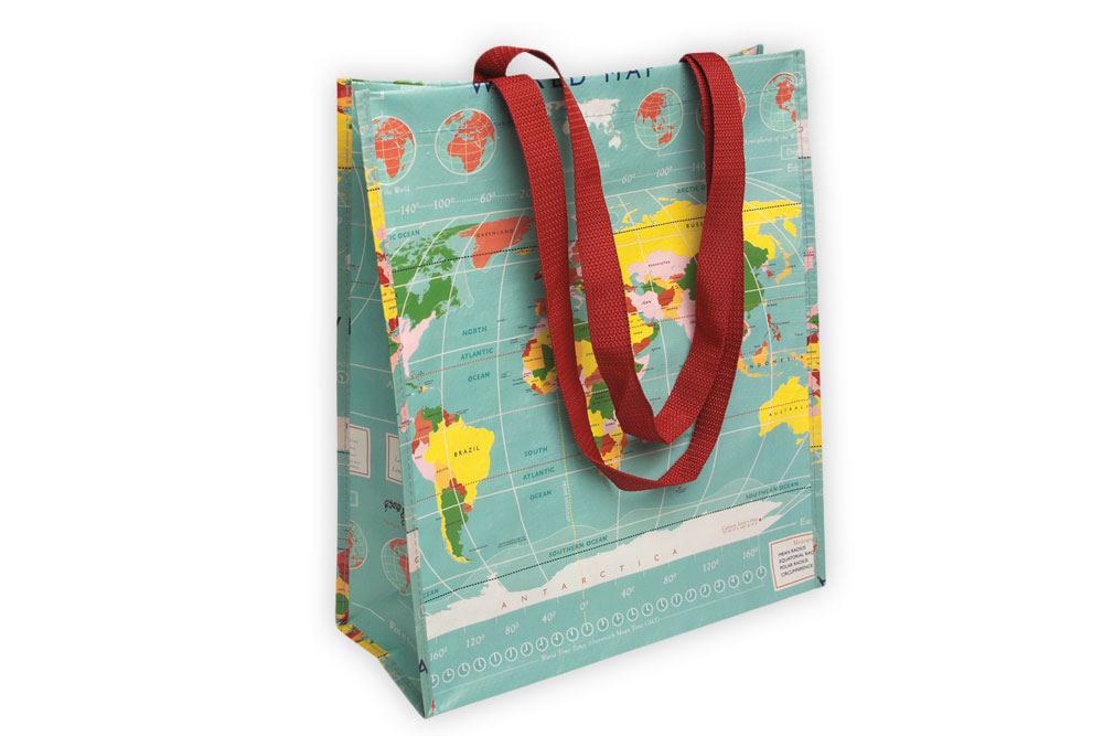 World Map Shopper Bag