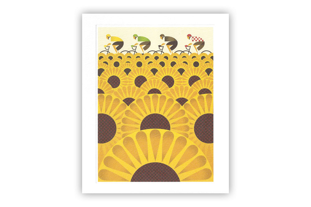 Les Tournesols Bicycle Greeting Card by Eleanor Grosch