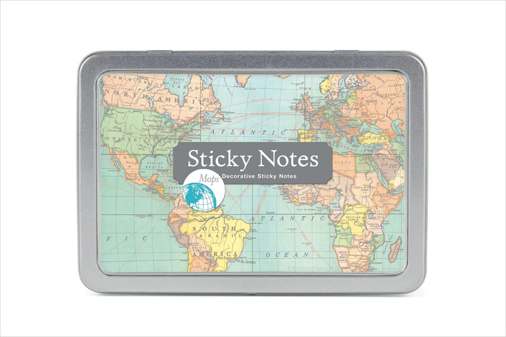 Vintage Map Sticky Note Set