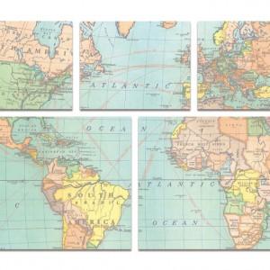 Vintage Map Sticky Note Set