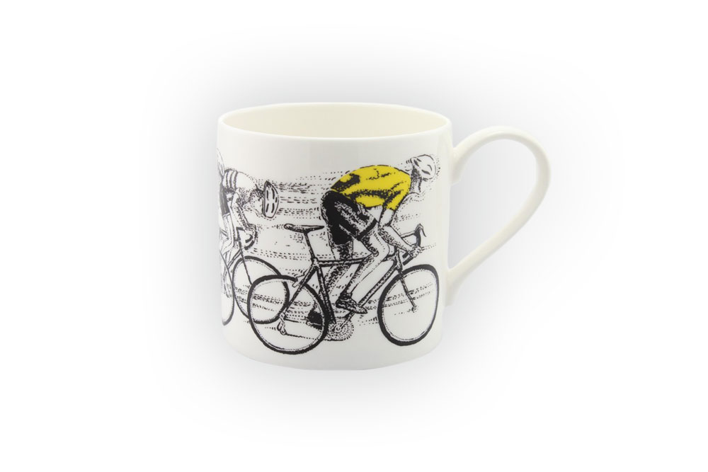 Sprint Finish Yellow Jersey Bicycle Mug
