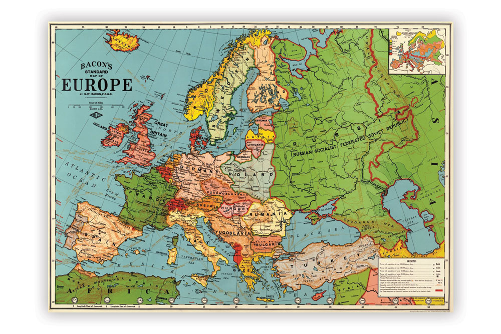 Map of Europe Poster Paper