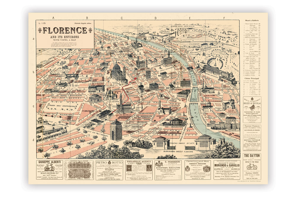 Map of Florence Wrapping Paper | CycleMiles
