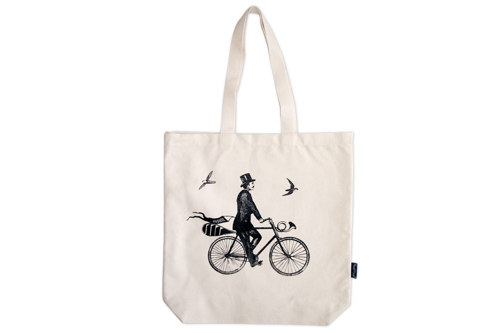 Chase and Wonder A Gentleman Rides Bicycle Tote Bag