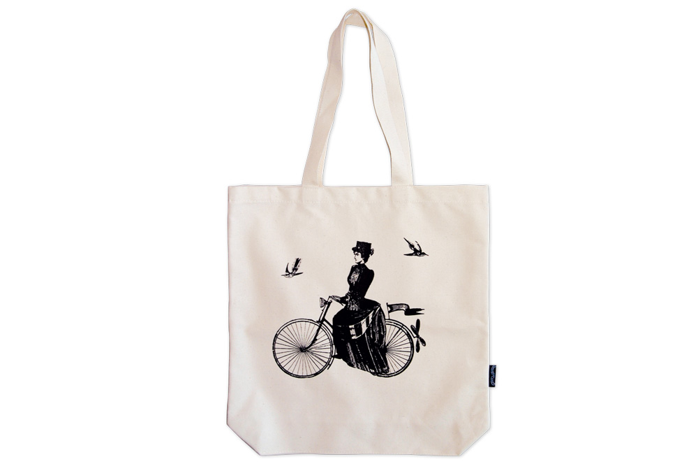 A Lady Rides Bicycle Tote Bag
