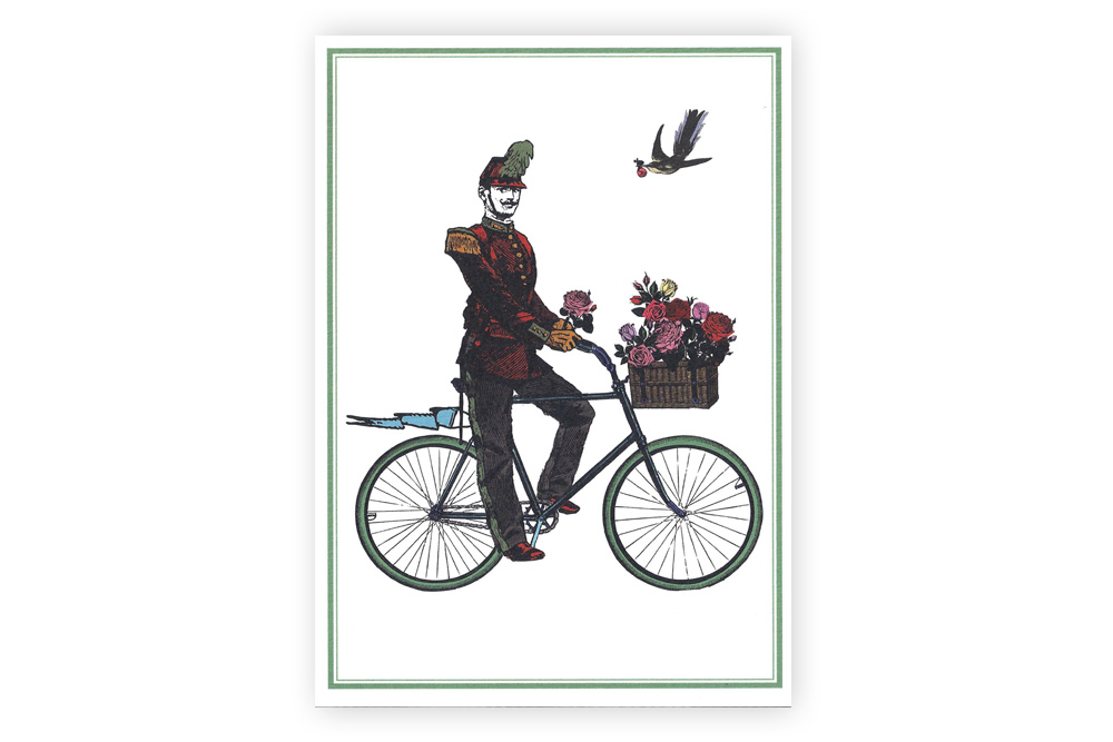 Flower Cyclist Bicycle Greeting Card