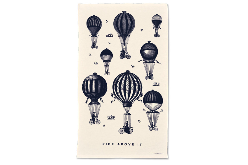 Chase and Wonder They Ride Above It Bicycle Tea Towel