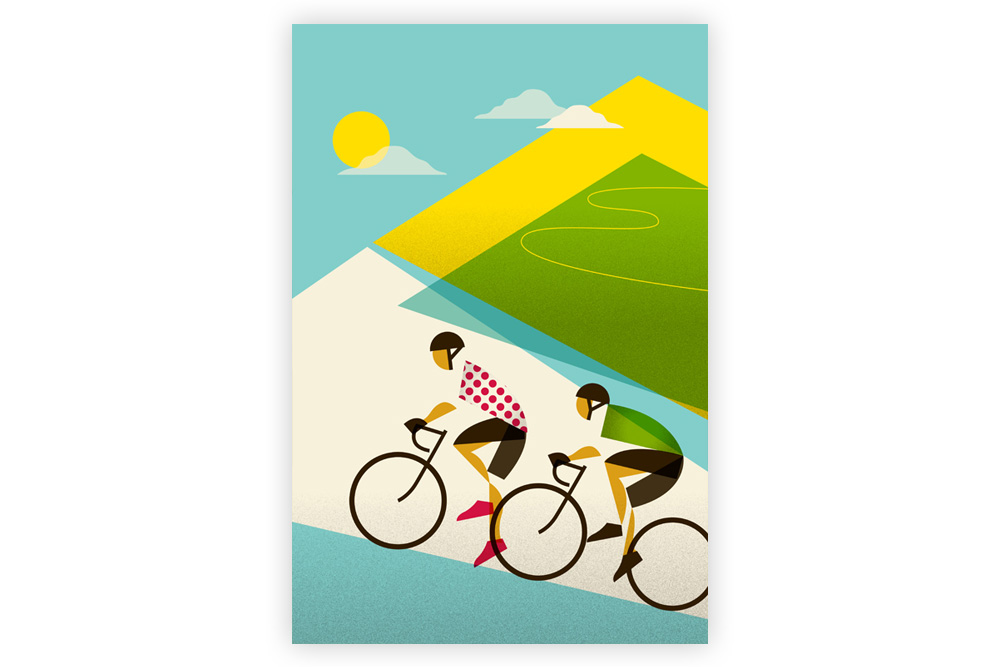 Le Tour – Alpe D'Huez Cycling Print by Eleanor Grosch