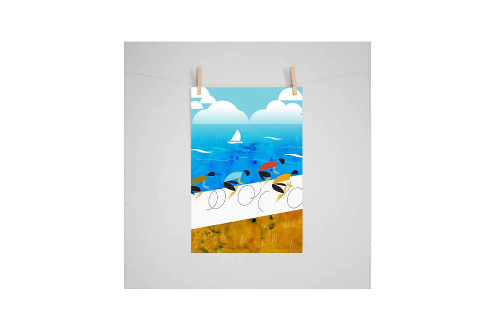 Cycling by the Sea Cycling Print by Eleanor Grosch