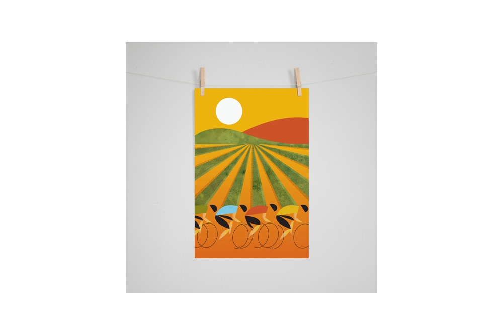 Cycling in Wine Country Cycling Print by Eleanor Grosch