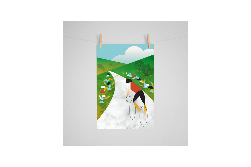 Hill Climb Cycling Print by Eleanor Grosch