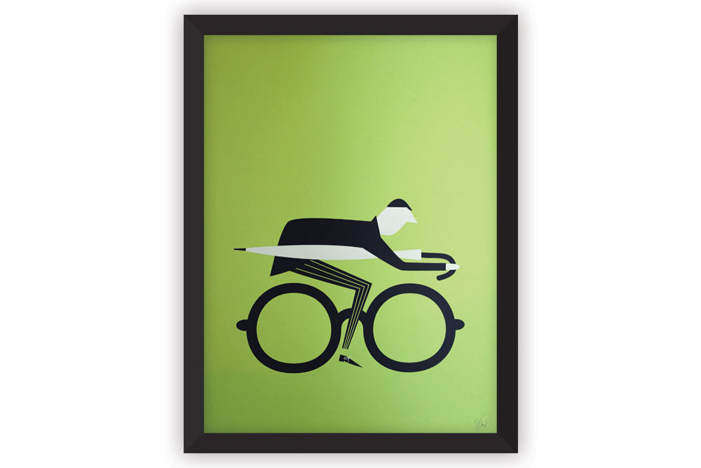 The Commuter Cycling Print by Rebecca J Kaye